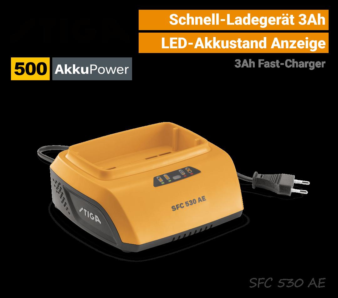 Stiga SFC 530 Schnell-Ladegerät 3Ah 500 AkkuPower EU9