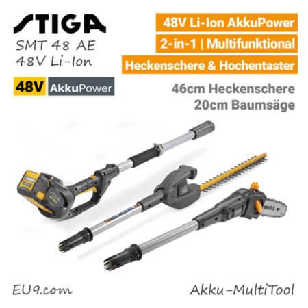 Stiga SMT 48 AE 48V Akku-MultiTool Akku-Heckenschere Akku-Hochentaster-Baumsäge 48 Volt EU9