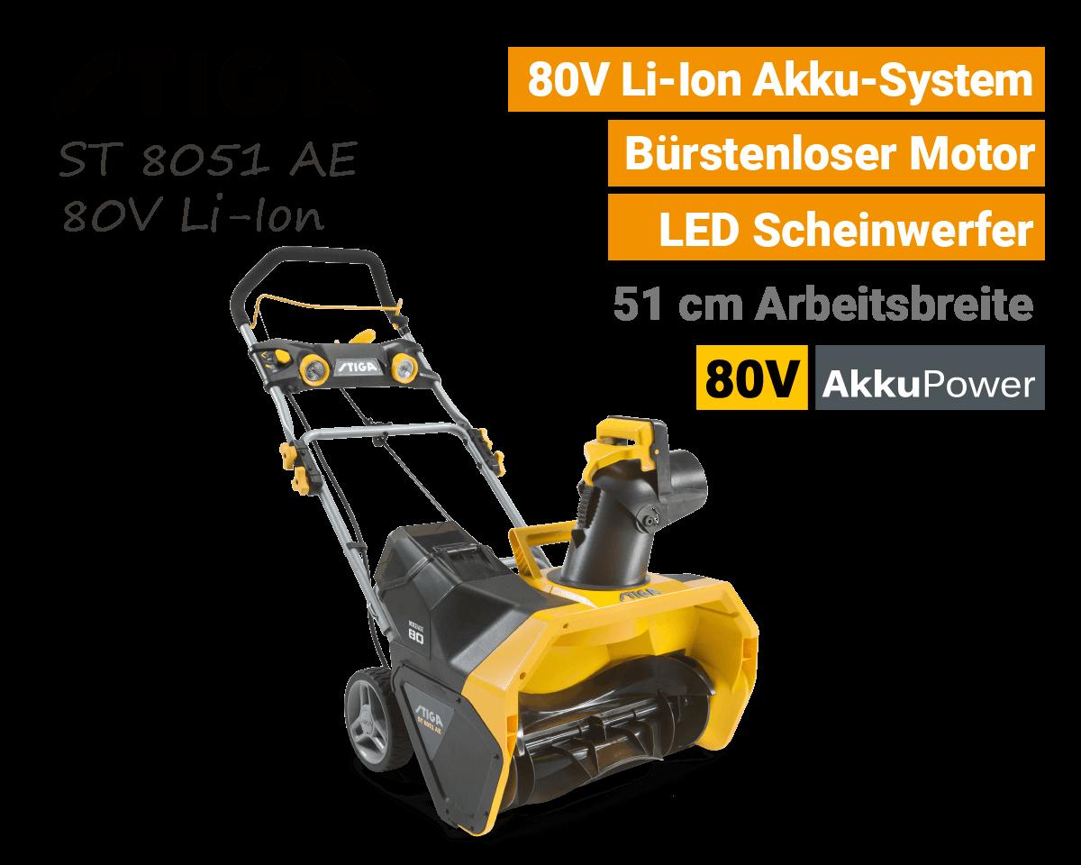 Stiga ST 8051 AE 80V Akku Schneefräse 80 Volt EU9