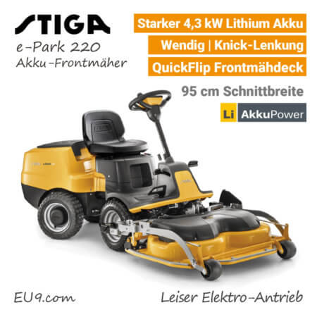 Stiga e-Park 220 Akku-Frontmäher Aufsitzmäher Akku-Rider Lithium EU9
