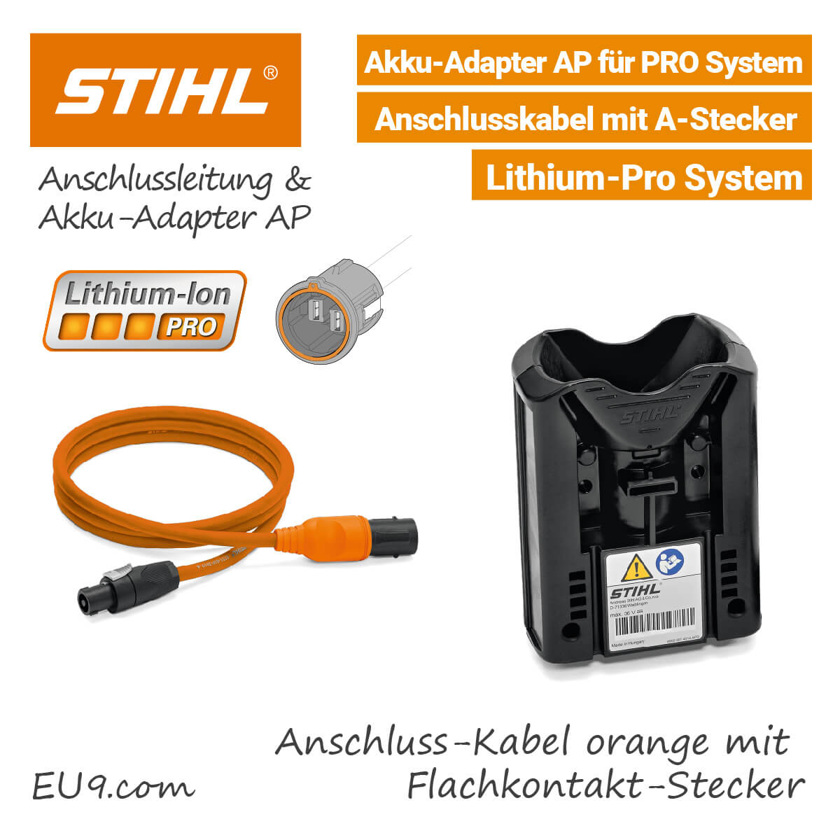 stihl anschlussleitung orange akku adapter ap pro akkusystem. Black Bedroom Furniture Sets. Home Design Ideas
