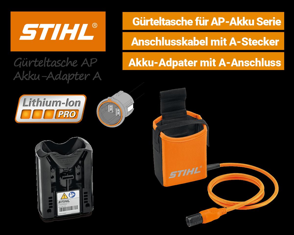 Stihl Akku-Gürteltasche Orange mit A-Stecker und Akku-Adapter AP Li-Ion Pro EU9