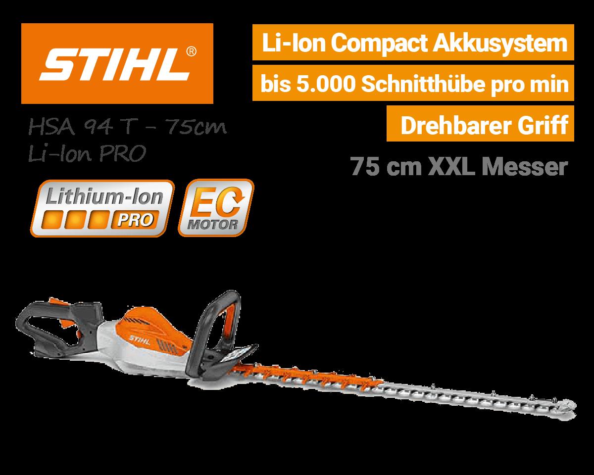 Stihl HSA 94 T 75cm Akku Heckenschere Lithium-Ion PRO EU9