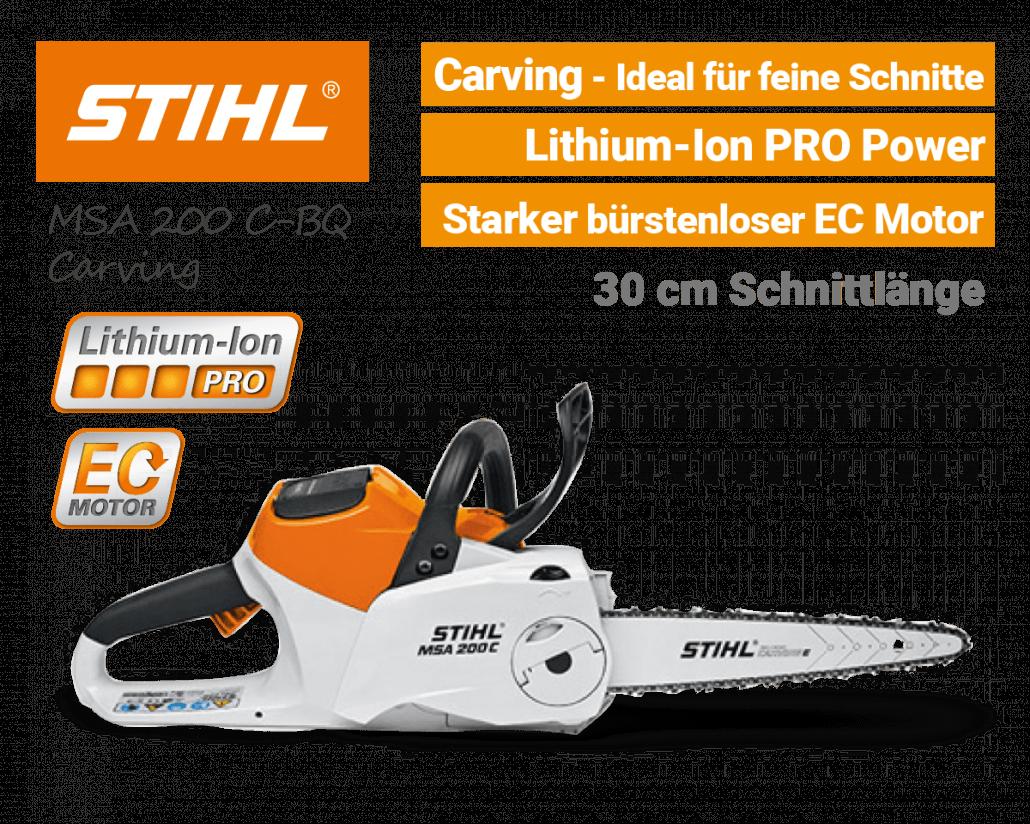 STIHL MSA 200 C-BQ Carving Akku-Kettensäge Motorsäge Lithium-Ion PRO EU9