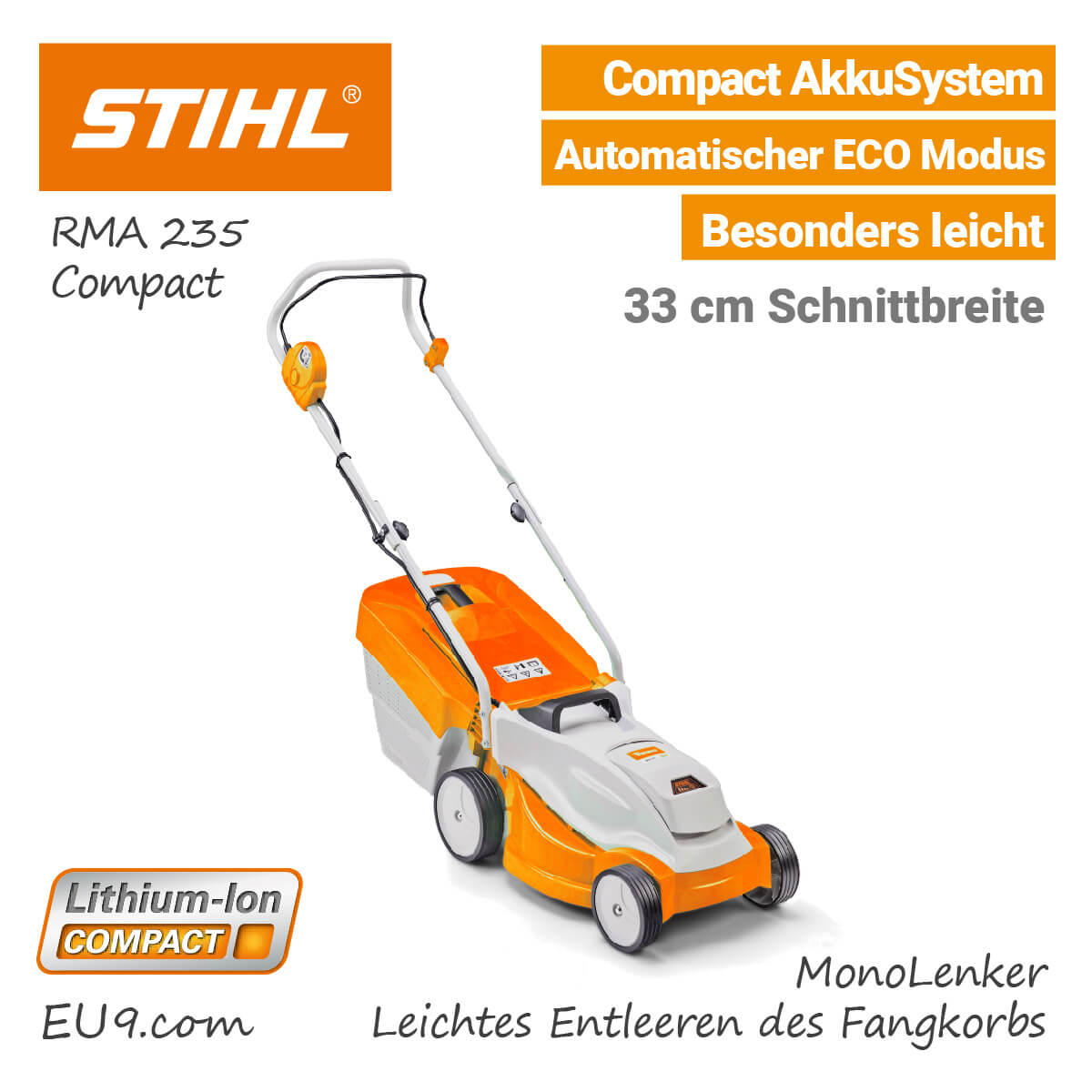 neu 2018 stihl rma 235 akku rasenm her compact jetzt neu. Black Bedroom Furniture Sets. Home Design Ideas