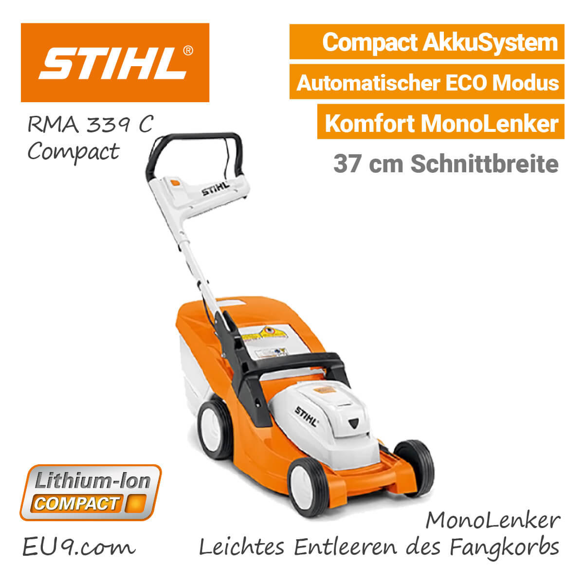 neu 2018 stihl rma 339 c akku rasenm her compact neuheit. Black Bedroom Furniture Sets. Home Design Ideas