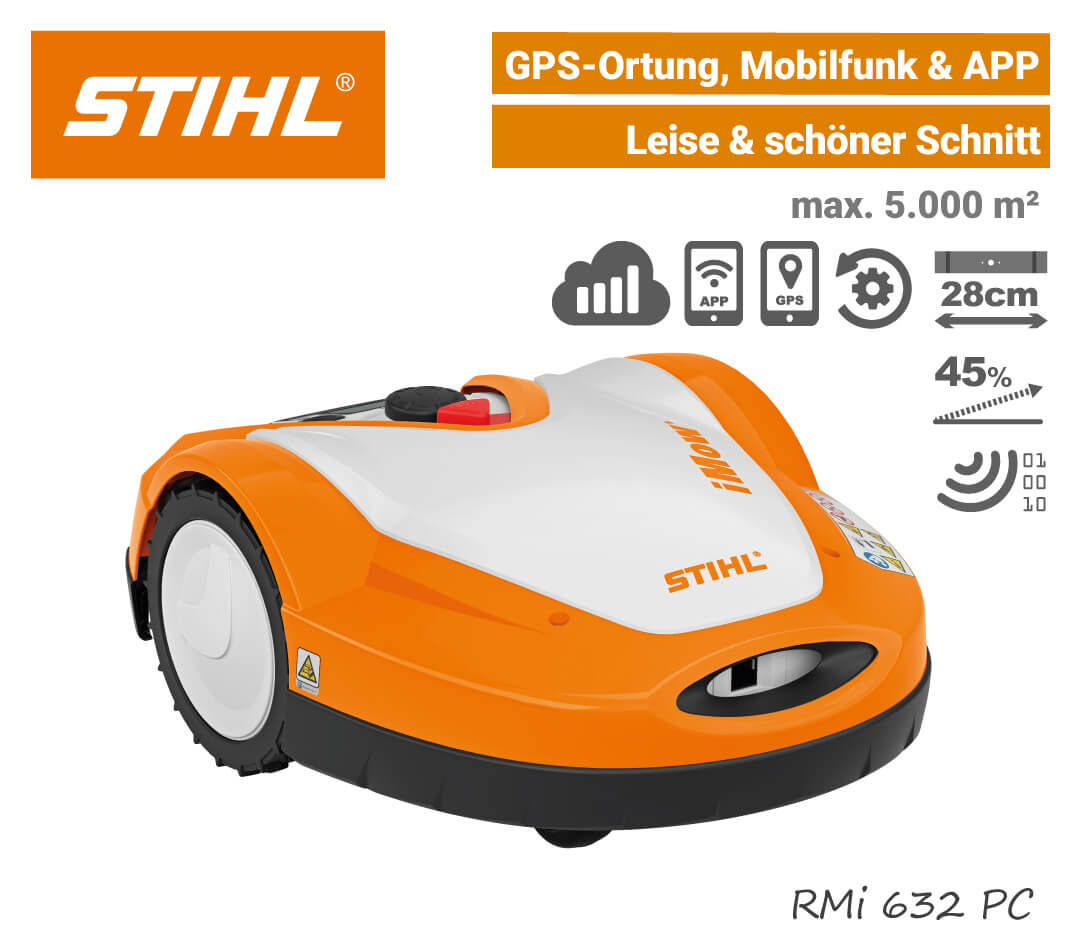 Stihl RMi 632 PC Mähroboter-Rasenroboter Mobilfunk GPS EU9