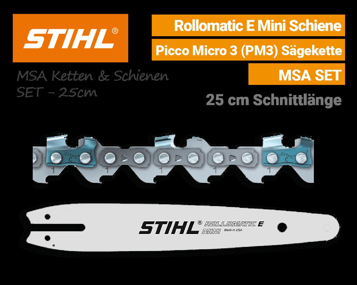 Stihl Rollomatic E-Mini 1/4 P Schiene - Picco Micro 3 PM3 1/4 1,1mm Kette 25cm MSA Schwert-Ketten SET EU9