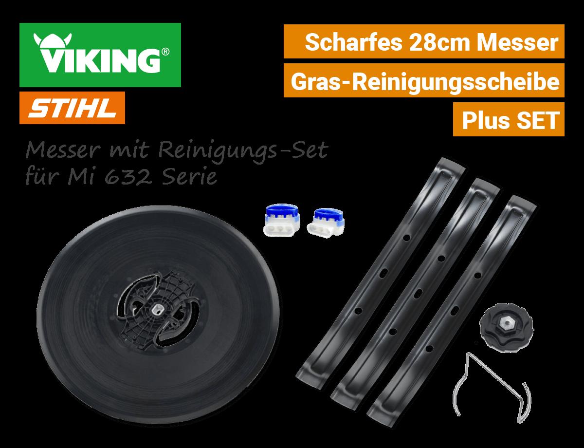 Stihl Viking Messer 28cm & Reinigungs-Set Gras-Reinigungsscheibe Mi 632 Serie iMow 909-007-1002