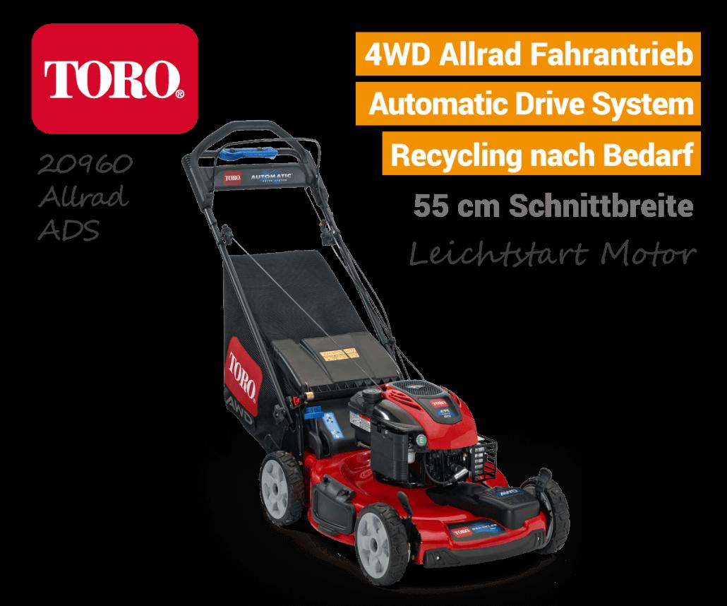 TORO 20960 Benzin-Rasenmäher 4WD Allrad Automatic-Drive-System