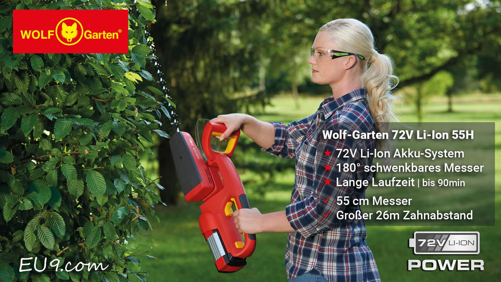 wolf garten 72v li ion power 55 h akku heckenschere g nstig kaufen. Black Bedroom Furniture Sets. Home Design Ideas