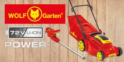 Wolf-Garten 72V Akku-Rasenmäher Akku-Trimmer EU9
