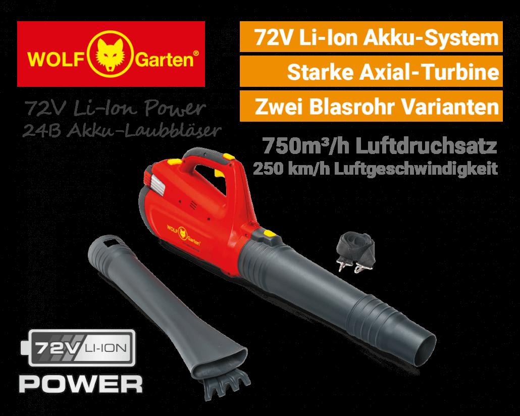 Wolf-Garten 72V Li-Ion Power 24 B Akku-Laubbläser EU9