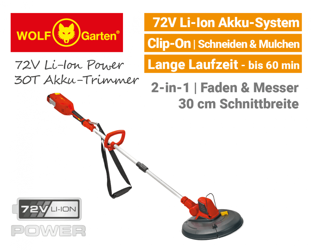 Wolf-Garten 72V Li-Ion Power 30T Akku-Trimmer EU9