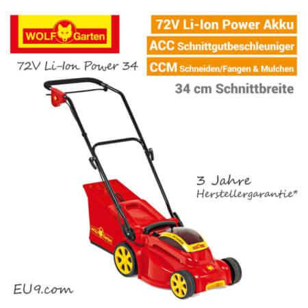 Wolf-Garten 72V Li-Ion Power 34 Akku Rasenmäher