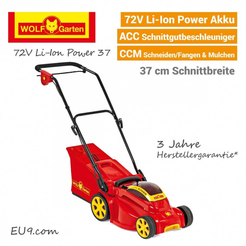 Wolf-Garten 72V Li-Ion Power 37 Akku Rasenmäher