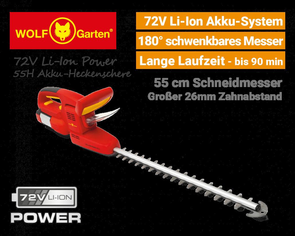 Wolf 72V Li-Ion Power 55H Akku-Heckenschere EU9