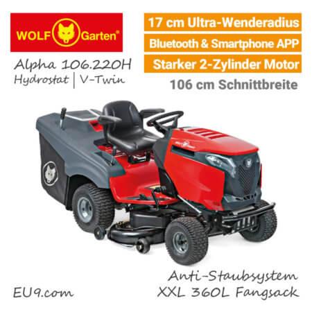 Wolf-Garten Alpha 106.220 H V-Twin Ultra-Wendekreis Bluetooth Rasentraktor - EU9