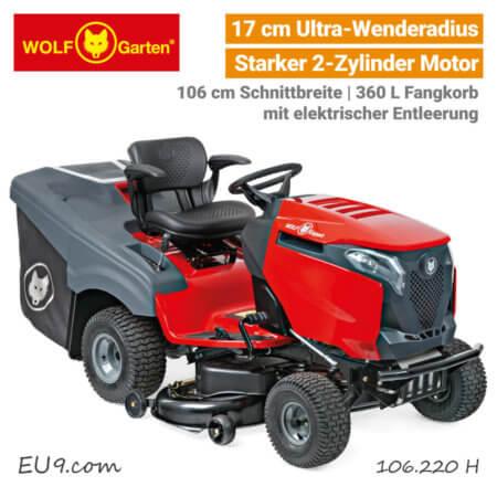 Wolf-Garten Alpha 106.220 H Elektrische-Fangkorb Entleerung Bluetooth Expert Rasentraktor EU9