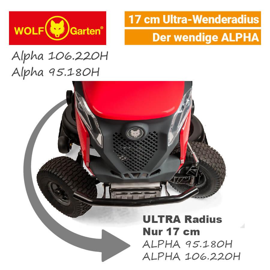 wolf garten alpha h rasentraktor v twin mit 17cm wenderadius neu 2017. Black Bedroom Furniture Sets. Home Design Ideas