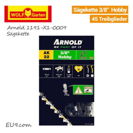 Wolf-Garten Arnold 1191-X1-0009 Sägekette 3/8 Hobby 45 Treibglieder