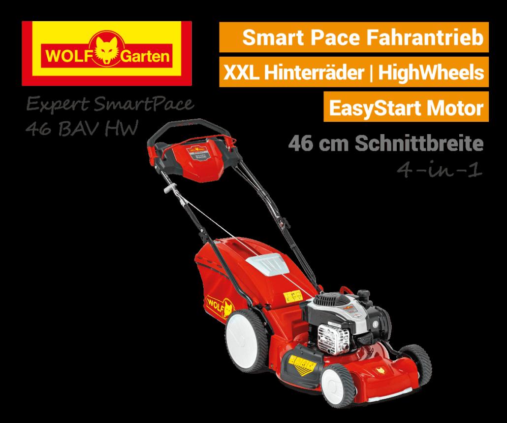 Wolf-Garten Expert Smart-Pace 46 BA V HW Benzin-Rasenmäher MySpeed