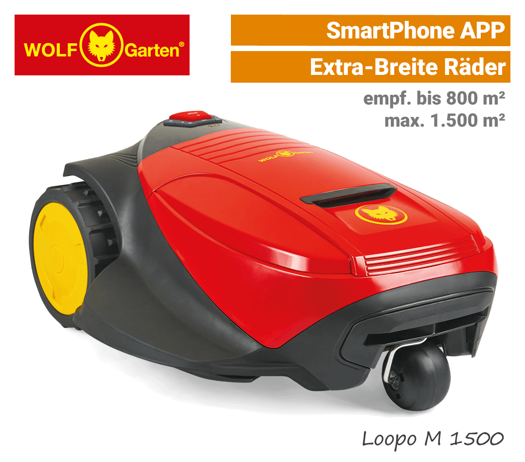 Wolf-Garten Loopo M 1500 Mähroboter-Rasenroboter SmartPhone-APP EU9