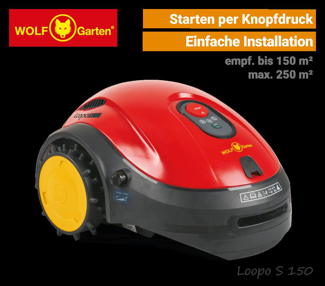 Wolf-Garten Loopo S 150 Mähroboter-Rasenroboter einfach EU9