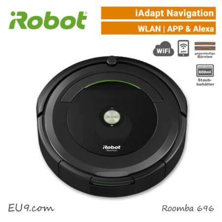 iRobot Roomba 696 Saugroboter iAdapt-Navigation Wifi WLAN Alexa App EU9